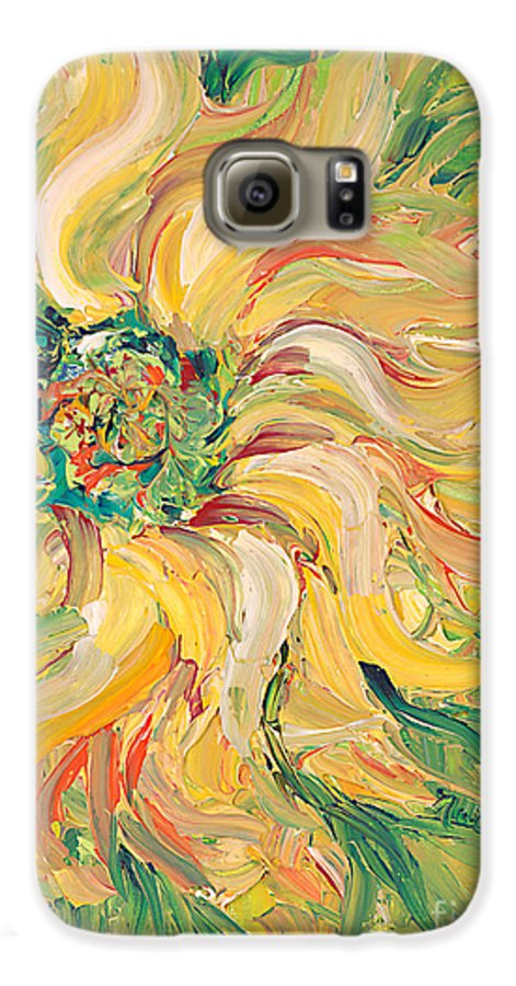 Texture Galaxy S6 Case featuring the painting Textured Green Sunflower by Nadine Rippelmeyer