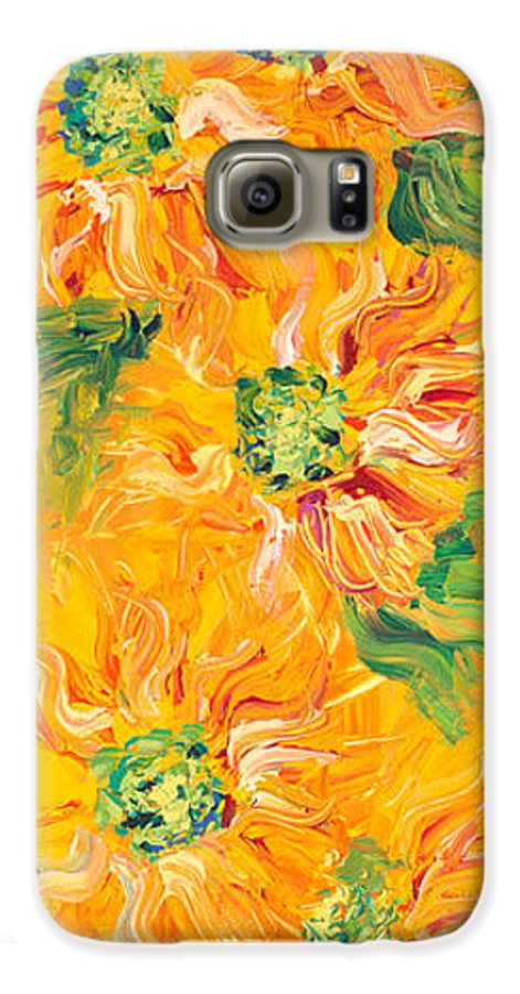Yellow Galaxy S6 Case featuring the painting Textured Yellow Sunflowers by Nadine Rippelmeyer