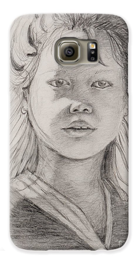 Portrait Galaxy S6 Case featuring the drawing Thai Beauty by Nadine Rippelmeyer