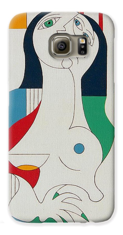 Women Fingers Nails Modern Humor Galaxy S6 Case featuring the painting Thanks by Hildegarde Handsaeme