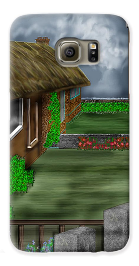 Cottages Galaxy S6 Case featuring the painting Thatched Roof Cottages In Ireland by Anne Norskog