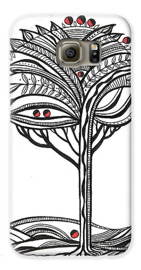 Abstract Galaxy S6 Case featuring the drawing The Apple Tree by Aniko Hencz