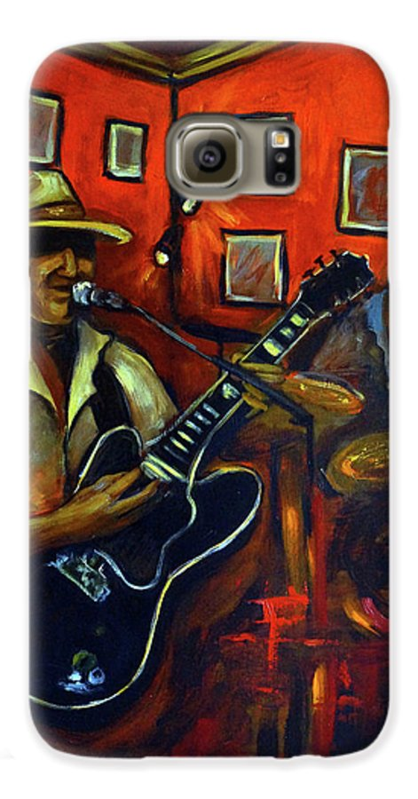 Blues Galaxy S6 Case featuring the painting The Back Room by Valerie Vescovi
