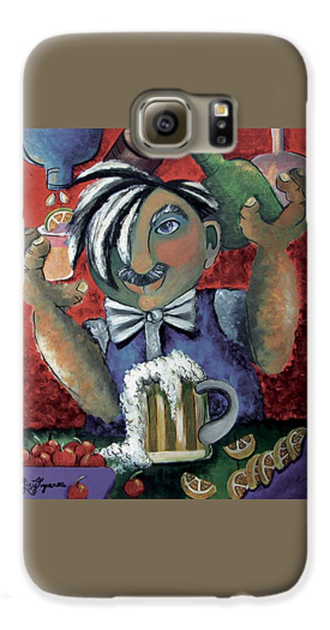 Bartender Galaxy S6 Case featuring the painting The Bartender by Elizabeth Lisy Figueroa
