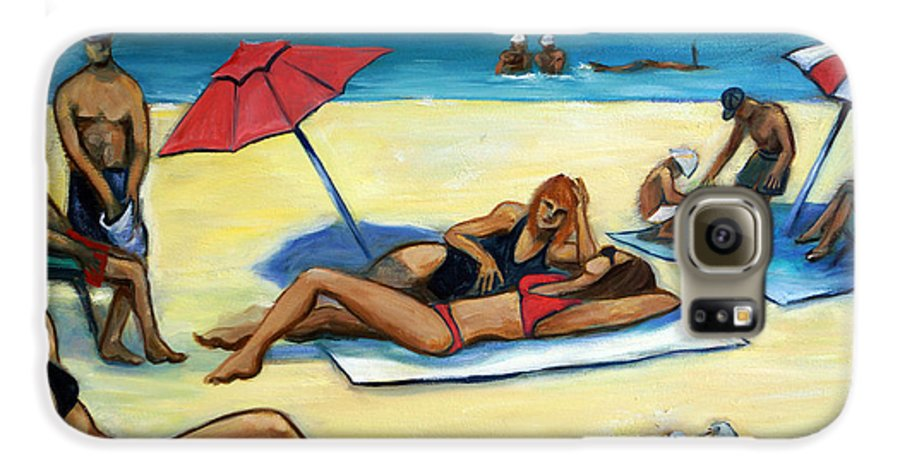 Beach Scene Galaxy S6 Case featuring the painting The Beach by Valerie Vescovi