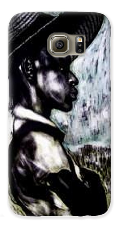 Portrait Galaxy S6 Case featuring the mixed media The Berry Picker by Chester Elmore