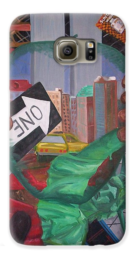 New York Galaxy S6 Case featuring the painting The Big Apple by Lauren Luna