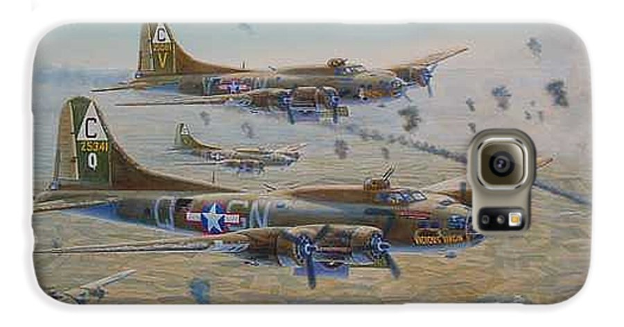 303rd Bomb Groups Vicious Virgin Galaxy S6 Case featuring the painting The Bomb Run Over Schwienfurt by Scott Robertson