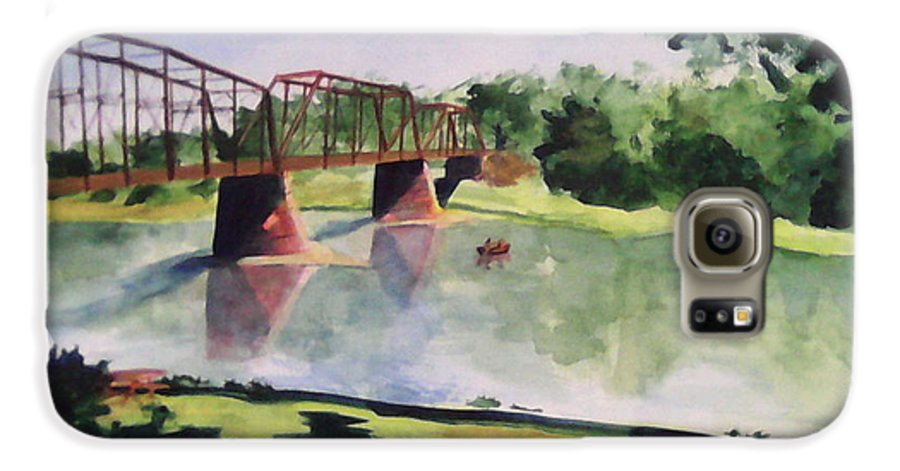 Bridge Galaxy S6 Case featuring the painting The Bridge At Ft. Benton by Andrew Gillette