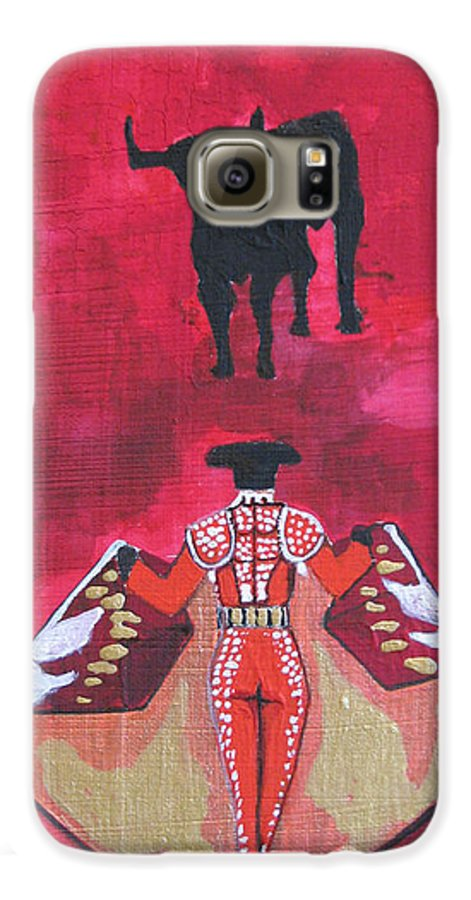 Spanish Art Galaxy S6 Case featuring the painting The Bull Fight No.1 by Patricia Arroyo