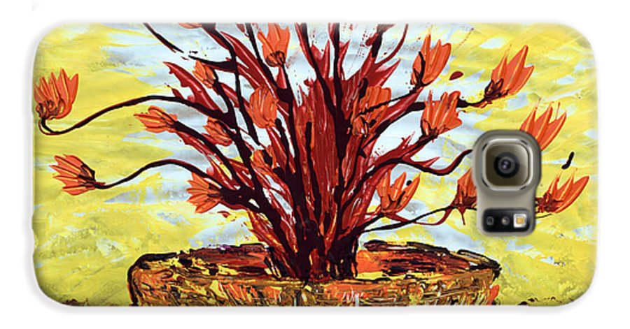 Red Bush Galaxy S6 Case featuring the painting The Burning Bush by J R Seymour