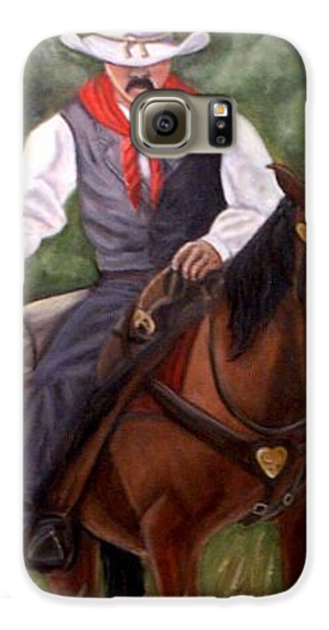 Portrait Galaxy S6 Case featuring the painting The Cowboy by Toni Berry