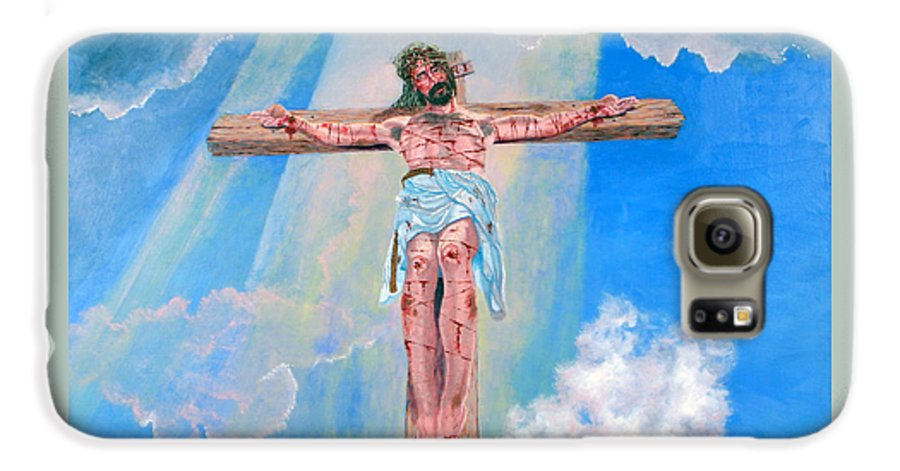 Christian Galaxy S6 Case featuring the painting The Crucifixion Daytime by Stan Hamilton
