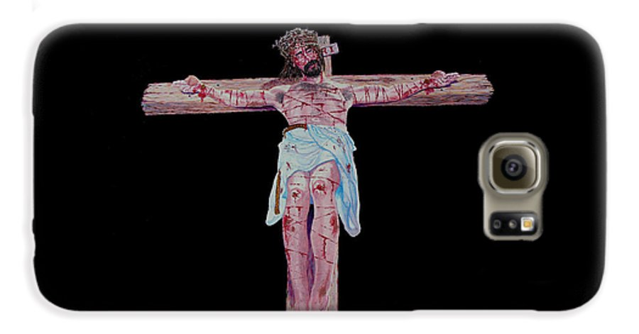 Crucifixion Galaxy S6 Case featuring the painting The Crucifixion by Stan Hamilton
