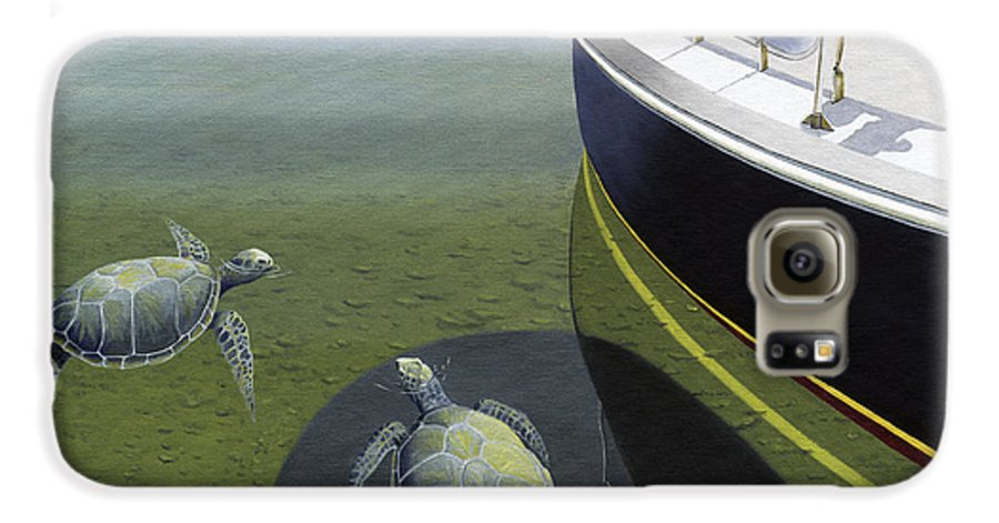Sail Boat Galaxy S6 Case featuring the painting The Curiosity Of Sea Turtles by Gary Giacomelli