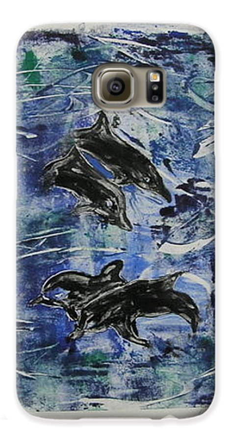 Monotype Galaxy S6 Case featuring the mixed media The Deep Sea by Cori Solomon