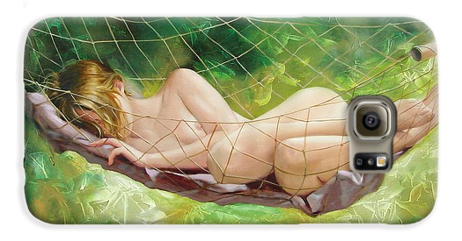 Oil Galaxy S6 Case featuring the painting The Dream In Summer Garden by Sergey Ignatenko