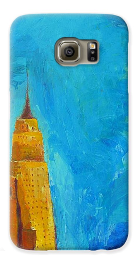 Abstract Cityscape Galaxy S6 Case featuring the painting The Empire State by Habib Ayat