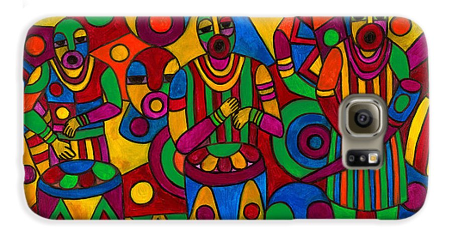 Abstract Galaxy S6 Case featuring the painting The Festival by Emeka Okoro