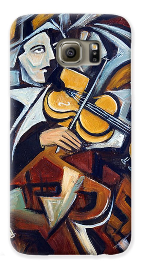 Musician Galaxy S6 Case featuring the painting The Fiddler by Valerie Vescovi