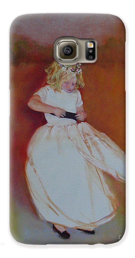 Contemporary Portrait Galaxy S6 Case featuring the painting The Flower Girl Copyrighted by Kathleen Hoekstra