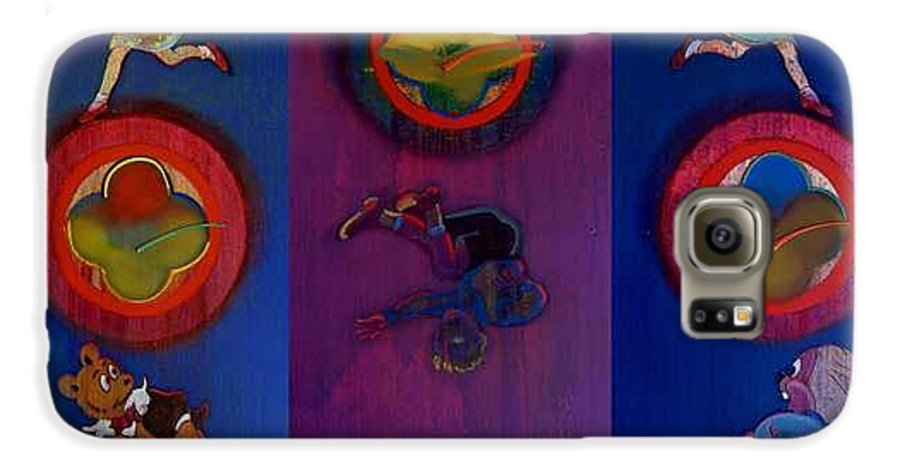 The Drums Of The Fruit Machine Stop At Random. Triptych Galaxy S6 Case featuring the painting The Fruit Machine Stops II by Charles Stuart