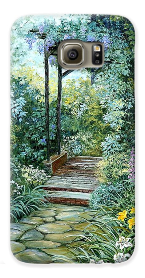 Oil Painting;wisteria;garden Path;lilies;garden;flowers;trellis;trees;stones;pergola;vines; Galaxy S6 Case featuring the painting The Garden Triptych Right Side by Lois Mountz