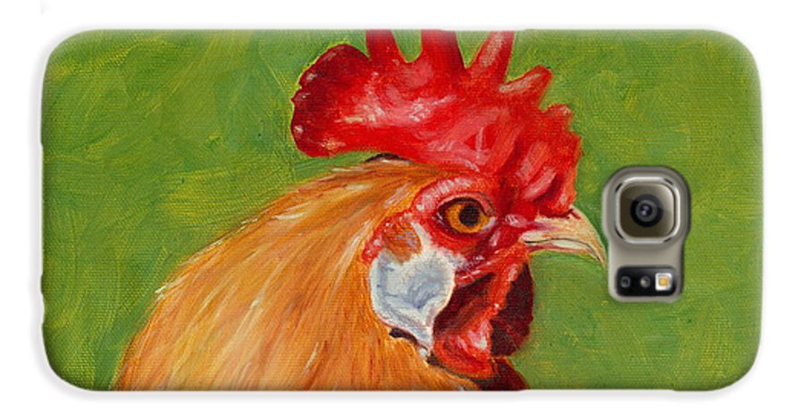 Rooster Galaxy S6 Case featuring the painting The Gladiator by Paula Emery