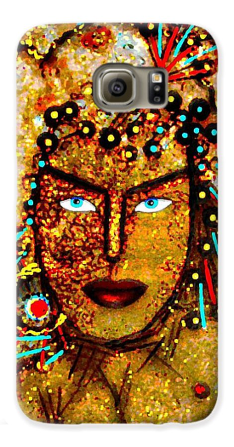 Goddess Galaxy S6 Case featuring the painting The Golden Goddess by Natalie Holland