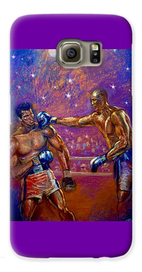 Boxing Galaxy S6 Case featuring the pastel the Greatest Muhammed Ali vs Jack Johnson by Tommy Winn