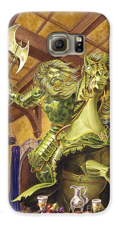 Fine Art Galaxy S6 Case featuring the painting The Green Knight by Melissa A Benson