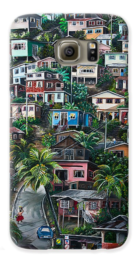 Landscape Painting Cityscape Painting Houses Painting Hill Painting Lavantille Port Of Spain Painting Trinidad And Tobago Painting Caribbean Painting Tropical Painting Caribbean Painting Original Painting Greeting Card Painting Galaxy S6 Case featuring the painting The Hill   Trinidad by Karin Dawn Kelshall- Best