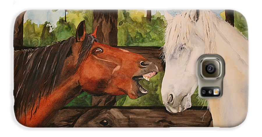 Horse Galaxy S6 Case featuring the painting The Horse Whisperers by Jean Blackmer