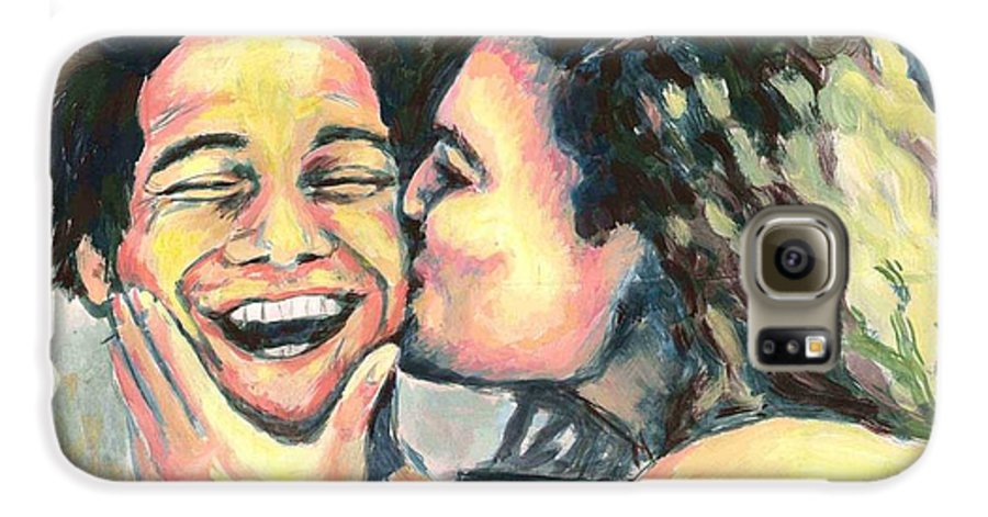 Man Galaxy S6 Case featuring the painting The Kiss by Nicole Zeug