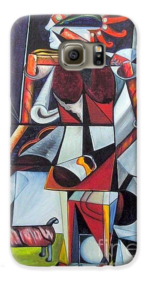 Cubism Galaxy S6 Case featuring the painting The Lady And Her Dog by Pilar Martinez-Byrne
