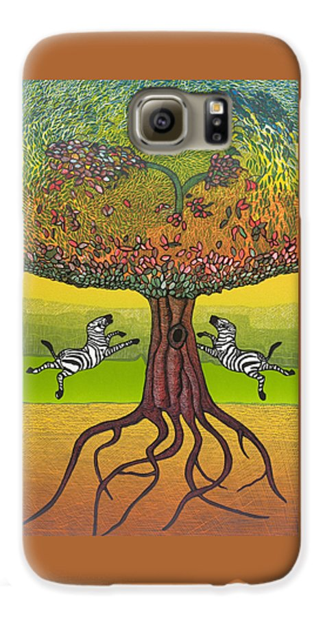 Landscape Galaxy S6 Case featuring the mixed media The Life-giving Tree. by Jarle Rosseland
