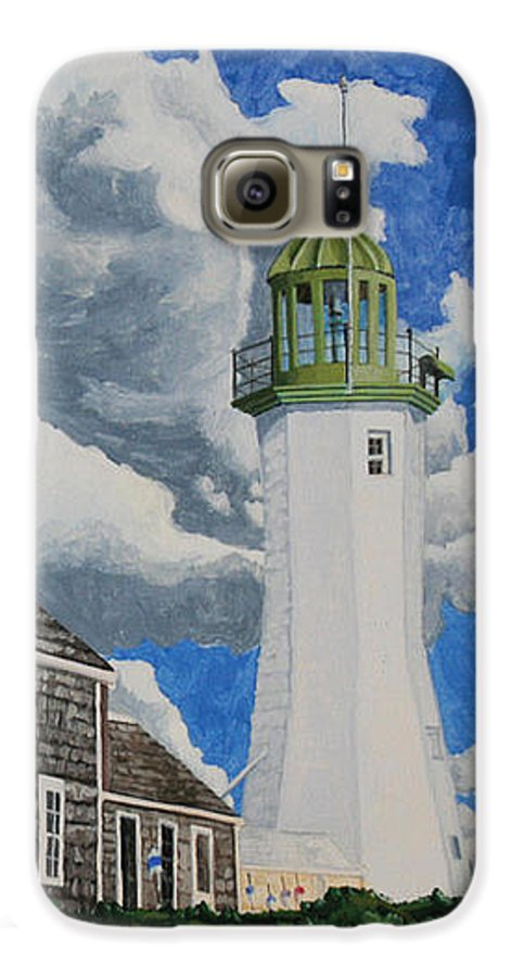 Lighthouse Galaxy S6 Case featuring the painting The Light Keeper's House by Dominic White