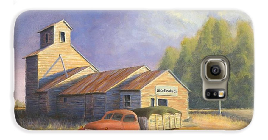 Nebraska Galaxy S6 Case featuring the painting The Lisco Elevator by Jerry McElroy