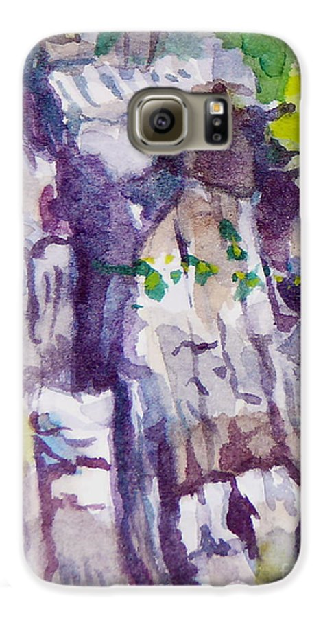 Purple Galaxy S6 Case featuring the painting The Little Climbing Wall by Jan Bennicoff