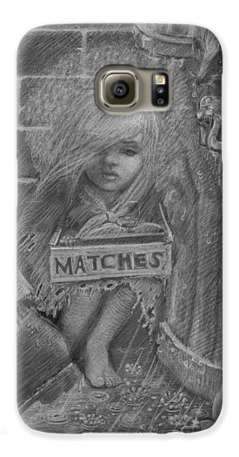 Hans Christian Andersen Galaxy S6 Case featuring the drawing The Little Matchseller by David Dozier