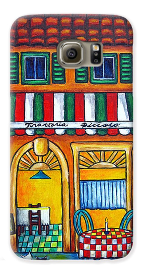 Blue Galaxy S6 Case featuring the painting The Little Trattoria by Lisa Lorenz
