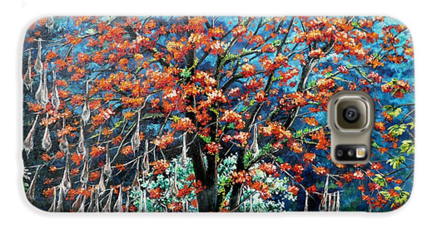 Tree Painting Mountain Painting Floral Painting Caribbean Painting Original Painting Of Immortelle Tree Painting  With Nesting Corn Oropendula Birds Painting In Northern Mountains Of Trinidad And Tobago Painting Galaxy S6 Case featuring the painting The Mighty Immortelle by Karin Dawn Kelshall- Best