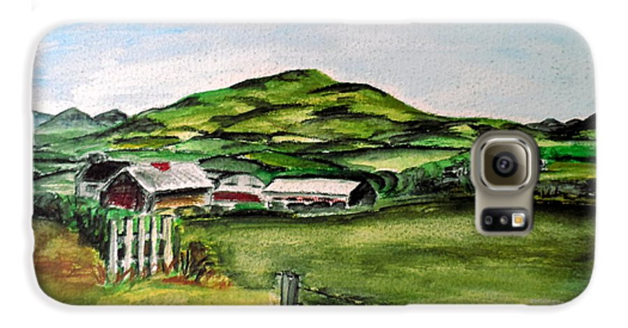 Landscape Galaxy S6 Case featuring the painting The Old Farm by Alan Hogan
