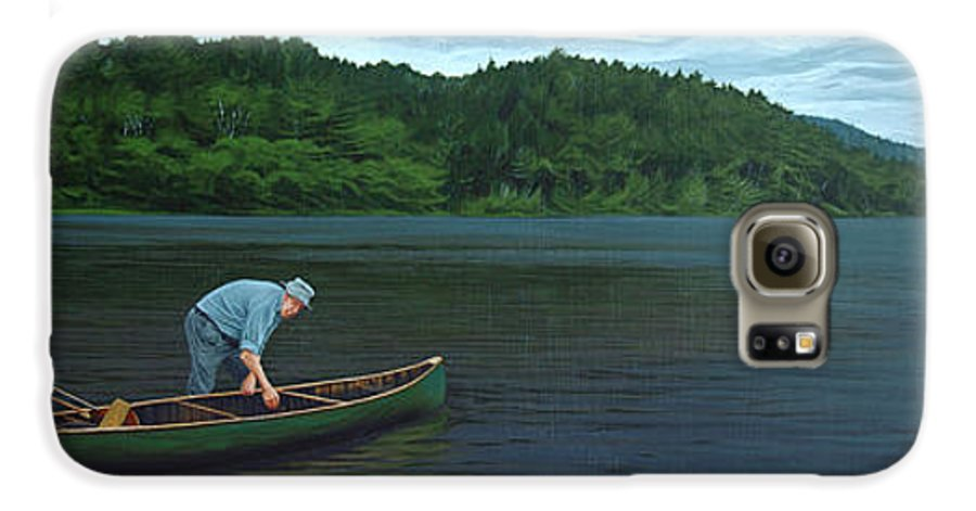 Landscape Galaxy S6 Case featuring the painting The Old Green Canoe by Jan Lyons