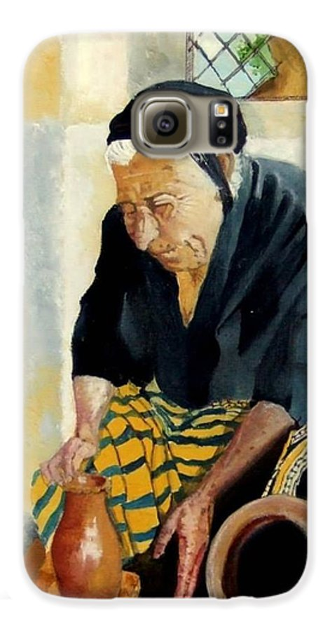 Old People Galaxy S6 Case featuring the painting The Old Potter by Jane Simpson