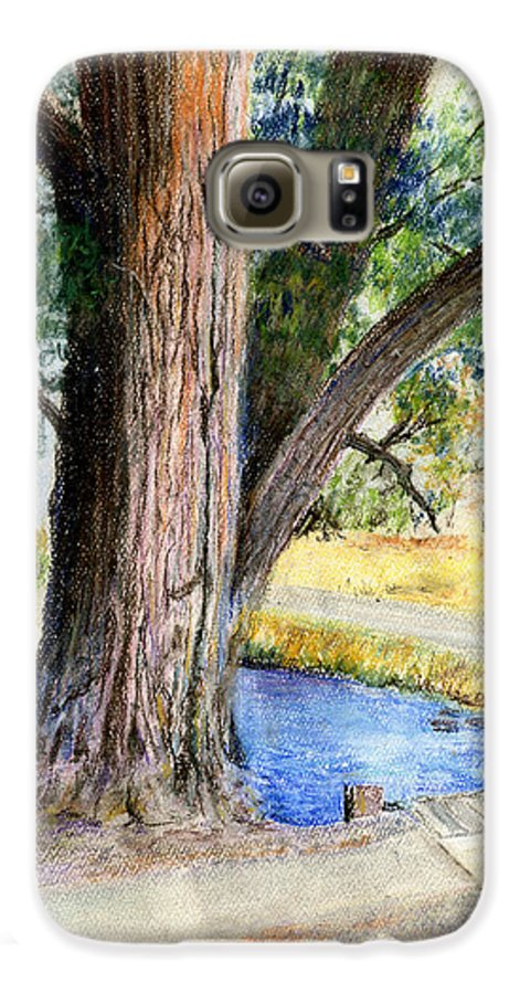 Tree Galaxy S6 Case featuring the pastel The Old Tree by Arline Wagner