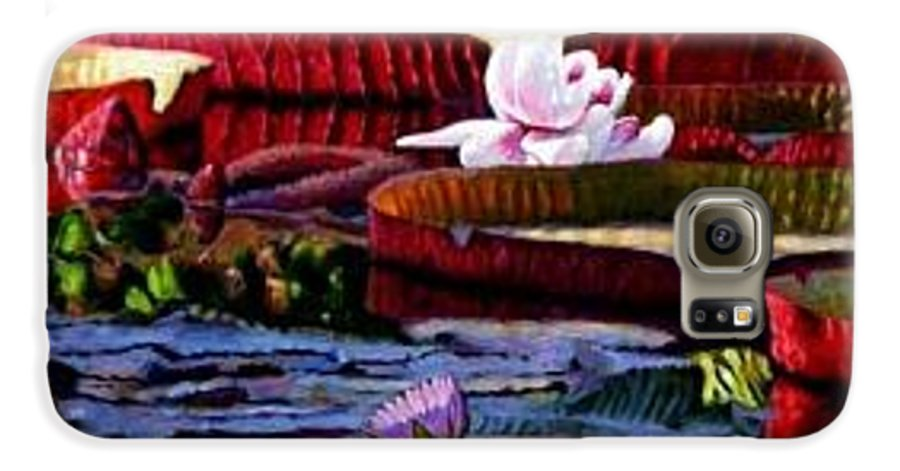 Shadows And Sunlight Across Water Lilies. Galaxy S6 Case featuring the painting The Patterns Of Beauty by John Lautermilch