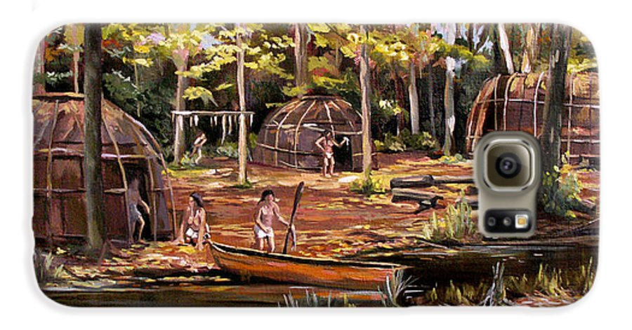 Institute Of American Indian Galaxy S6 Case featuring the painting The Pequots by Nancy Griswold