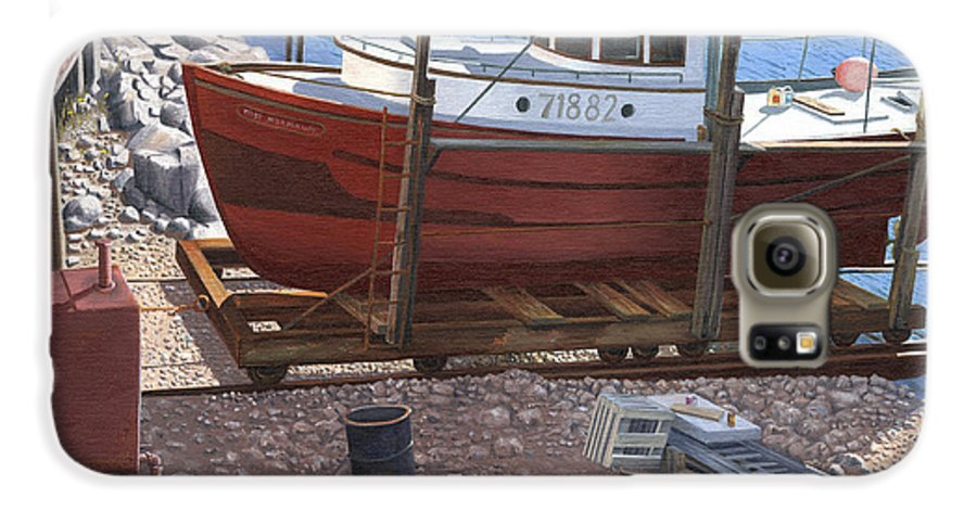Fishing Boat Galaxy S6 Case featuring the painting The Red Troller by Gary Giacomelli