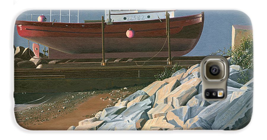 Ship Galaxy S6 Case featuring the painting The Red Troller Revisited by Gary Giacomelli